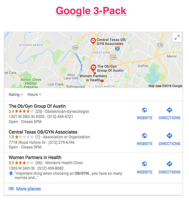 Google 3-Pack Location